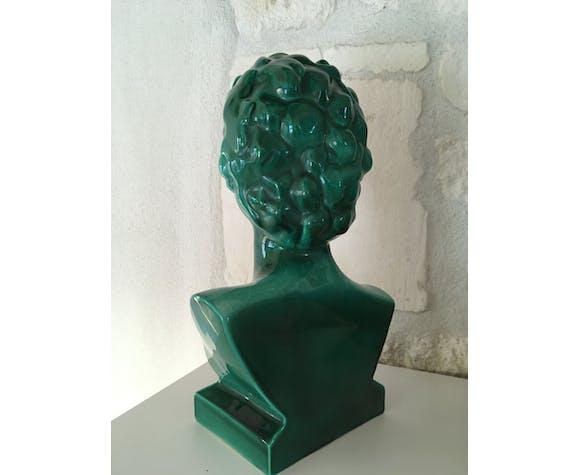 Buste femme 1950 céramique verte