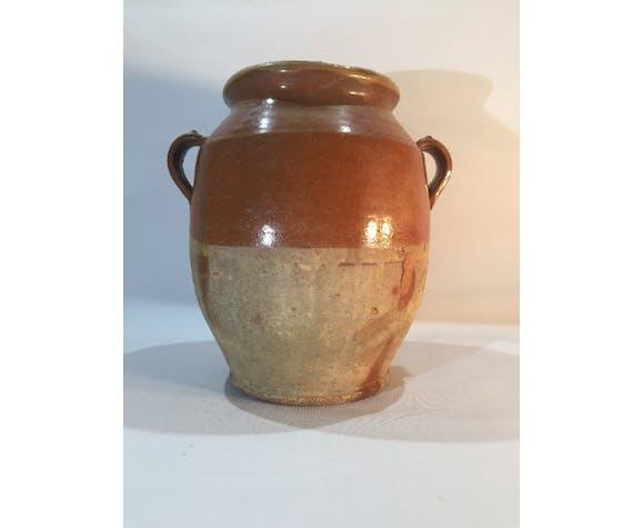 Brown glazed confit pot