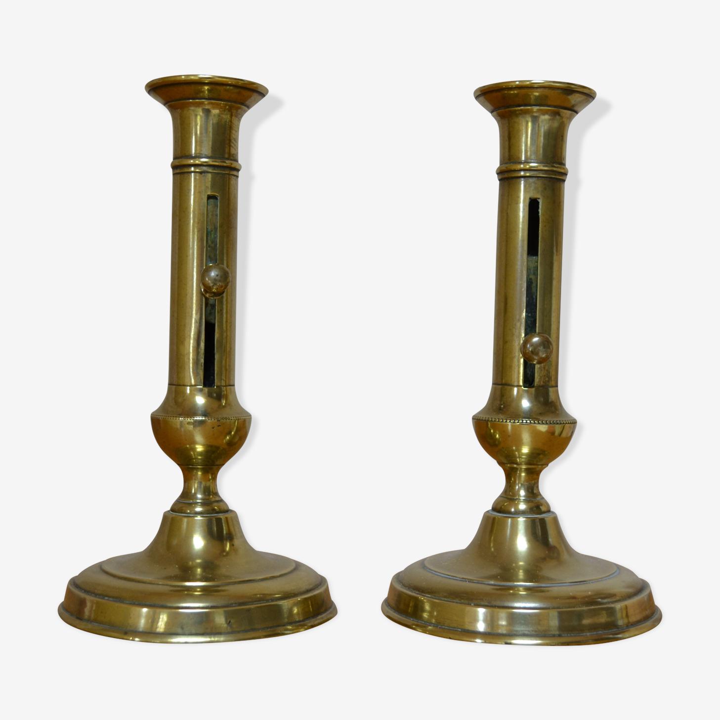 Golden vintage brass candlesticks