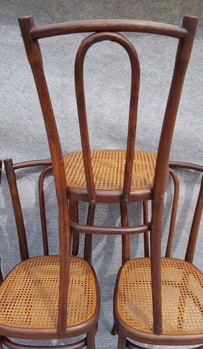 Pair of curved wooden chairs 1900