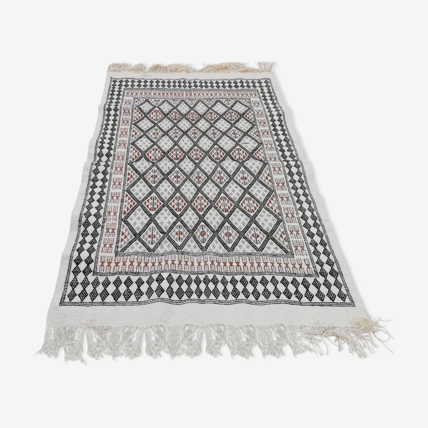 Moroccan kilim white and grey carpet 198x123cm