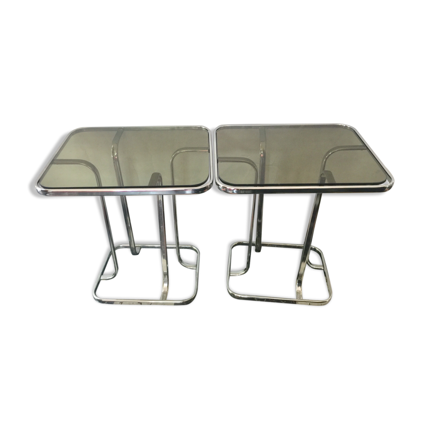 Tables basses design 1970 chrome et verre fumé