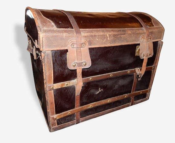 malle coffre ancien voiture osier bois cuir laiton ep 1900 rotin et osier noir vintage. Black Bedroom Furniture Sets. Home Design Ideas