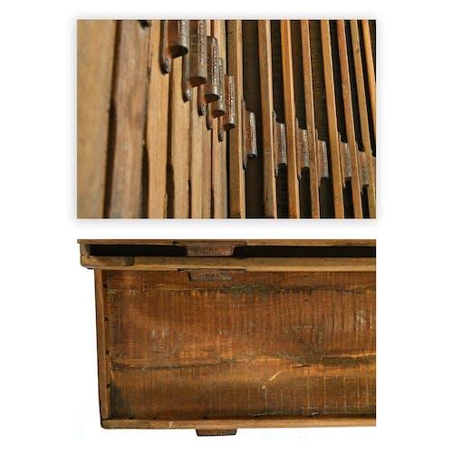 Meuble d'imprimeur en bois à 32 tiroirs