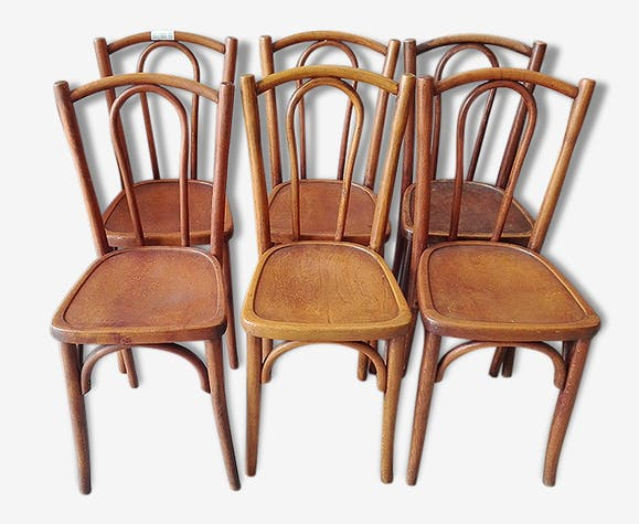 6 Chaises Bistrot Anciennes En Bois Assise A Motifs