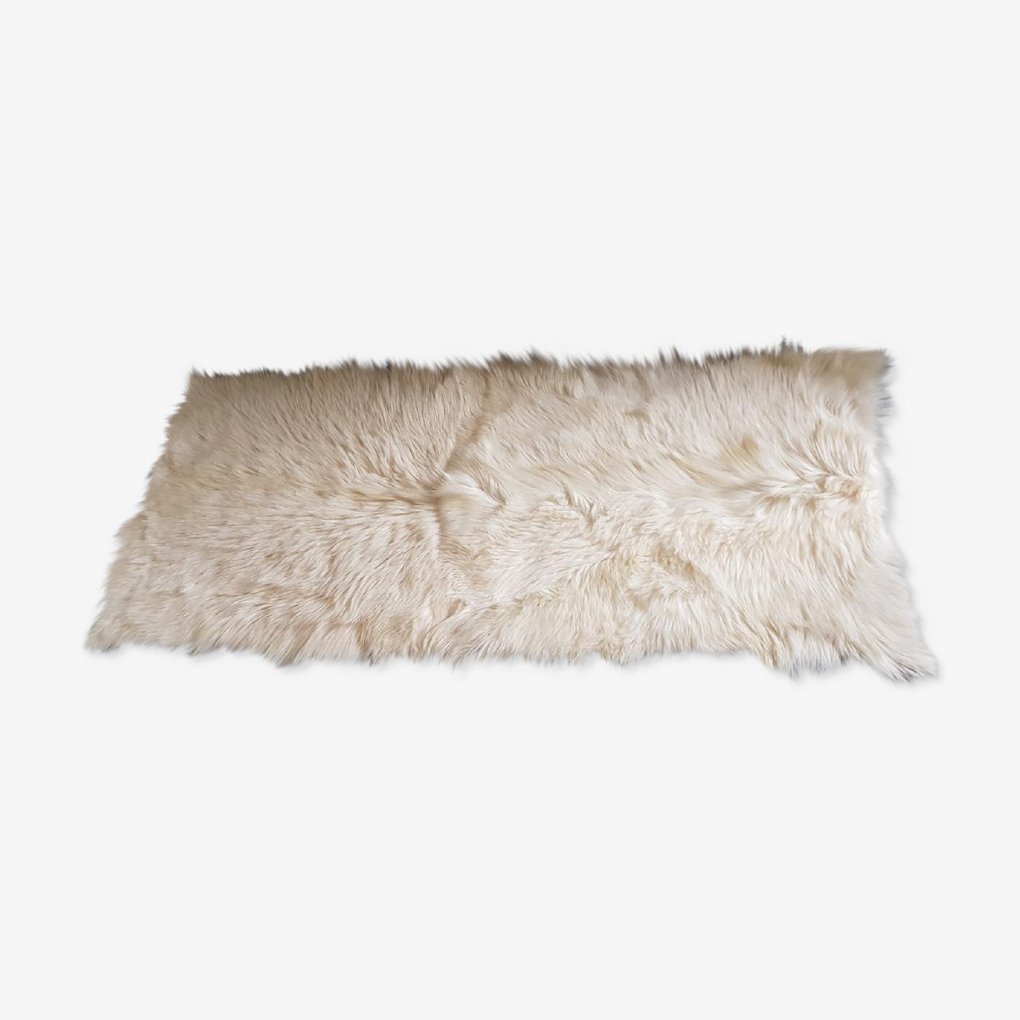 Tapis Peau De Chevre 140x70cm Peau Blanc Vintage Zizryqb