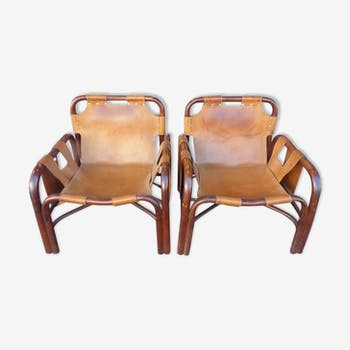Pair of 1960s Italian leather chairs