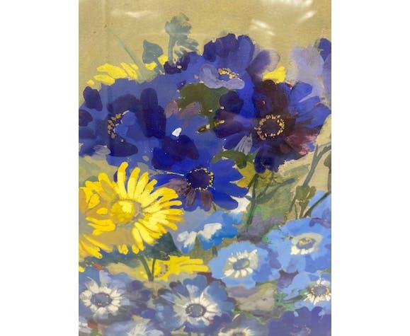 Tableau ancien, nature morte aux fleurs signée Georges Ritleng (1875-1972)