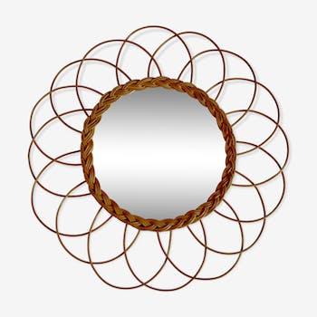 Miroir fleur en rotin & osier 39 x 39 cm
