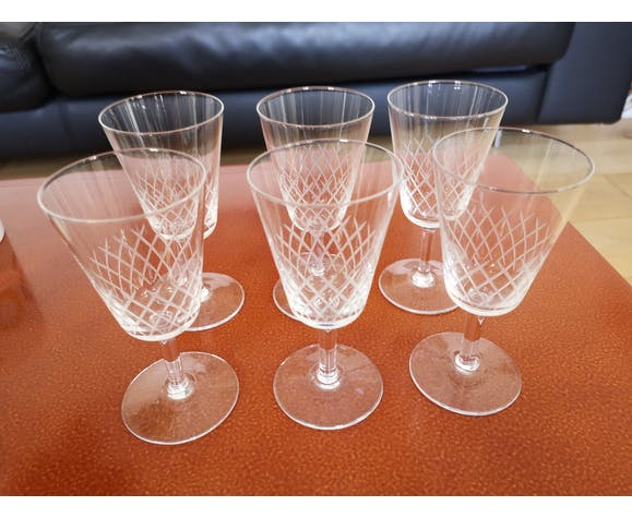 6 antique glass Baccarat type engraved handmade years 50