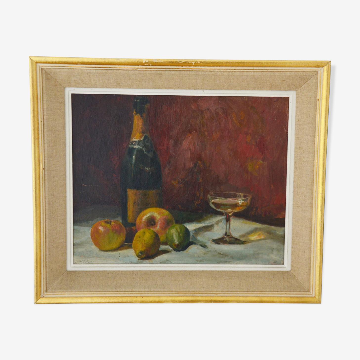 Peinture nature morte huile sur panneau signée Charles Jaffeux 1924