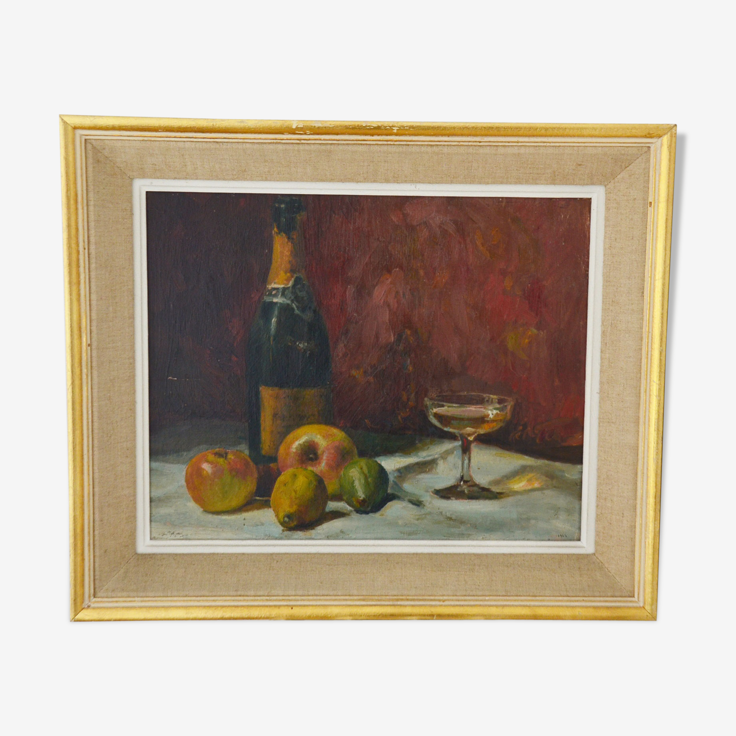 Still life paintings oil on board signed Charles Jaffeux 1924