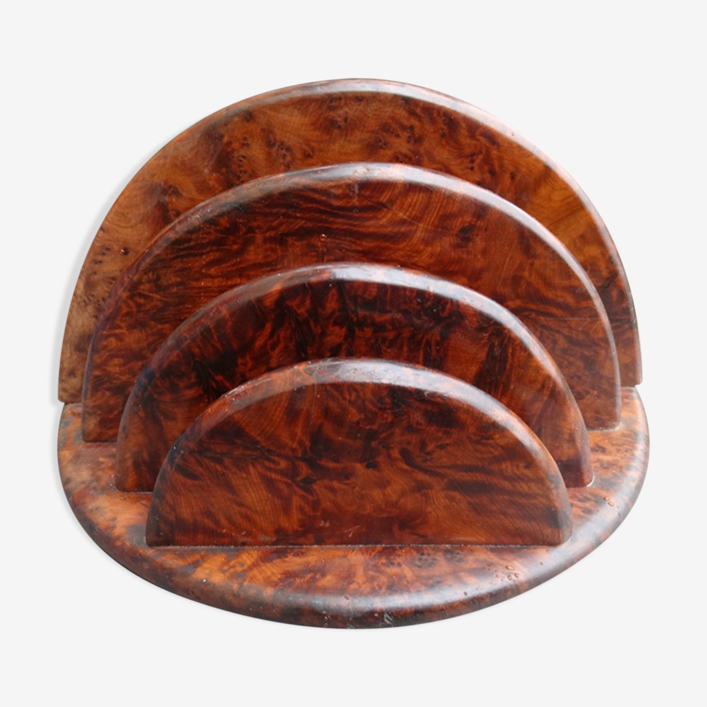 Porte courrier en bois de loupe art déco