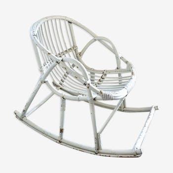 Child rocking chair in rattan, 60s