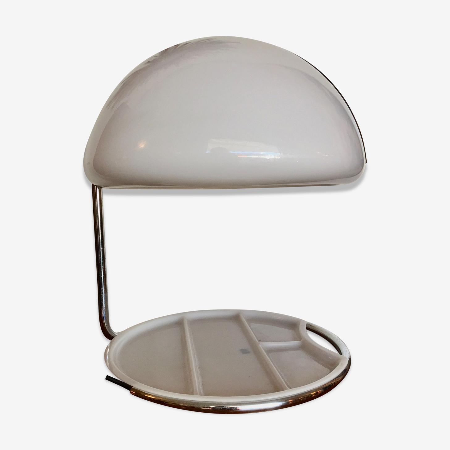 Table lamp 1968 in white ABS and metal shell
