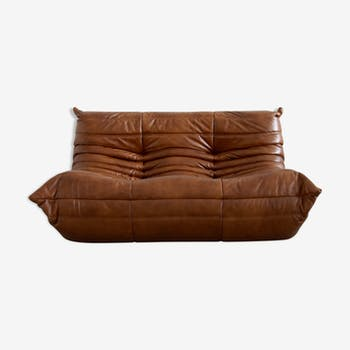 """Sofa 2 seater """"Togo"""" leather by Michel Ducaroy for Ligne Roset"""