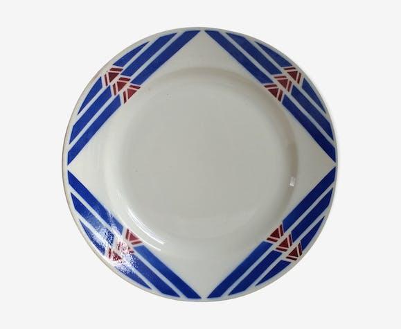 Badonviller plat de service rond décor géométrique bleu et rouge, modèle Stella