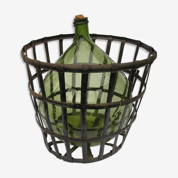 Lady jeanne green glass in its riveted metal basket