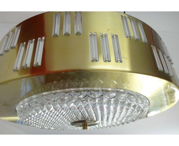 Lustre plafonnier design 1970 verre plexi vintage