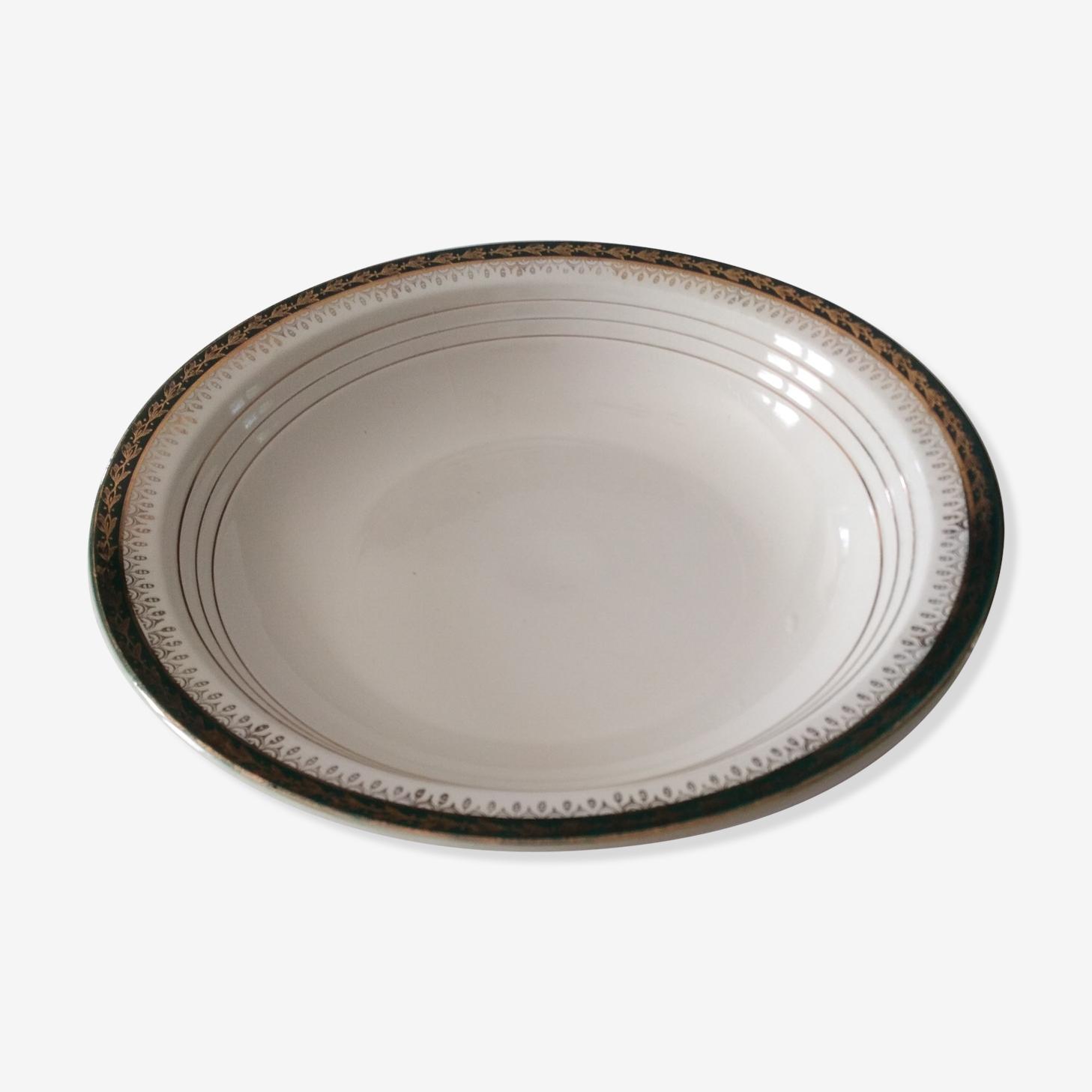 Plat de service ancien en porcelaine semi opaque fabrique Ceranord