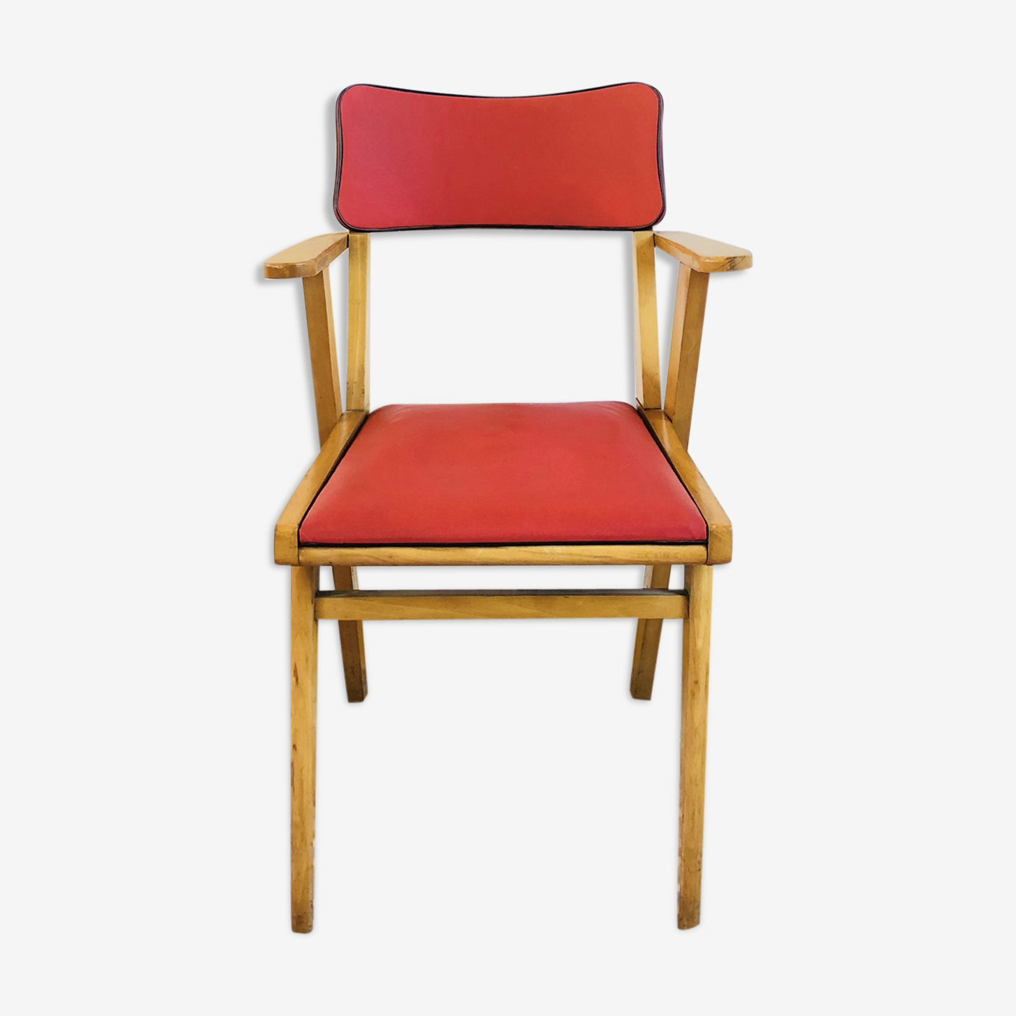 Armchair in wood and leatherette