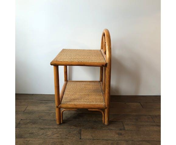 Table de chevet vintage en osier et bambou