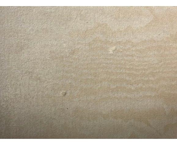 Fauteuils os de moutons en hêtre teinté noyer et velours beige marbré