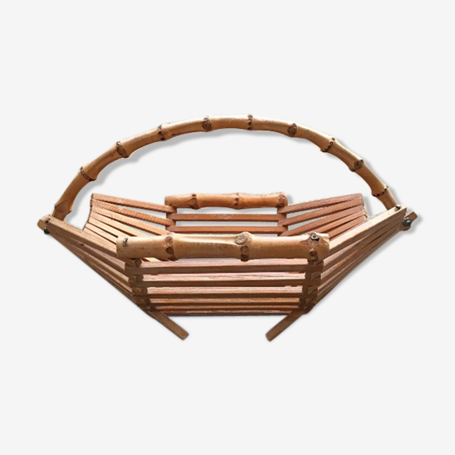 Rattan and bamboo basket