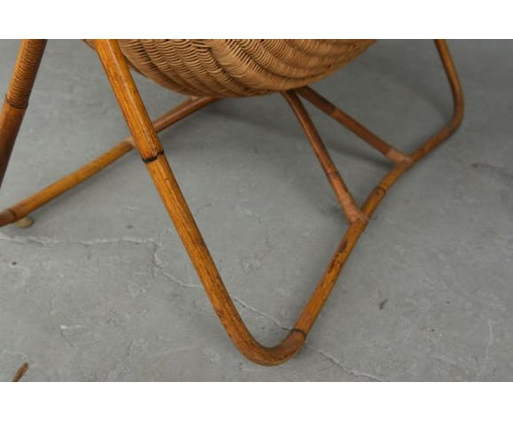 Berceau ancien en bois exotique style bambou et paillage