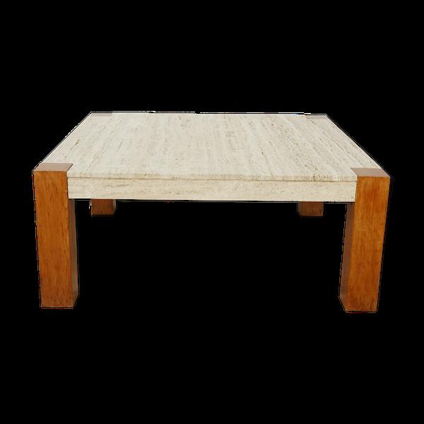Table basse carrée en teck et travertin des années 60