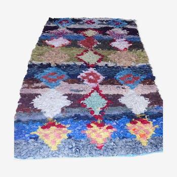 Tapis Bouchérouite multicolore à dominante bleue, motifs losanges 200 x 95 cm