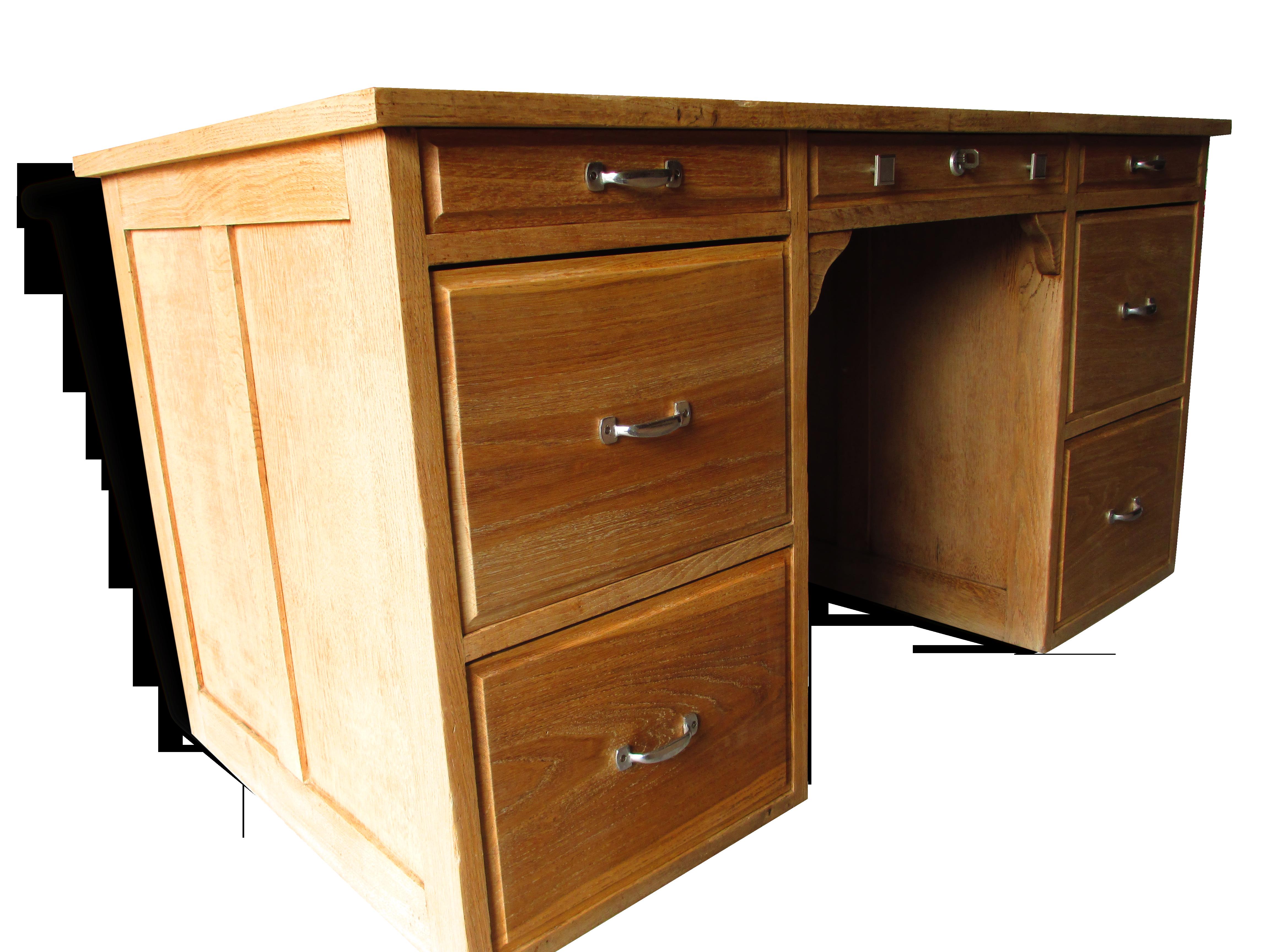 Ancien bureau en chêne massif bois matériau marron