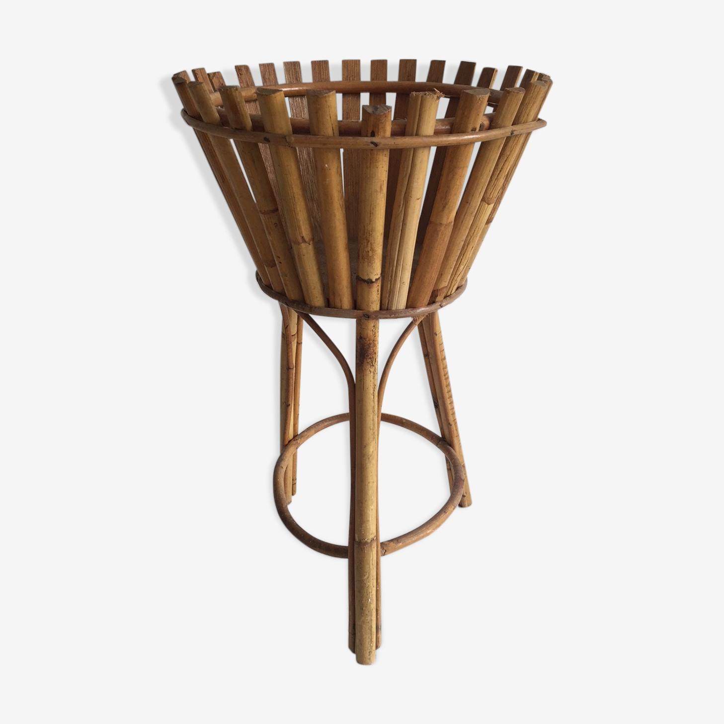 Tripod rattan plant holder