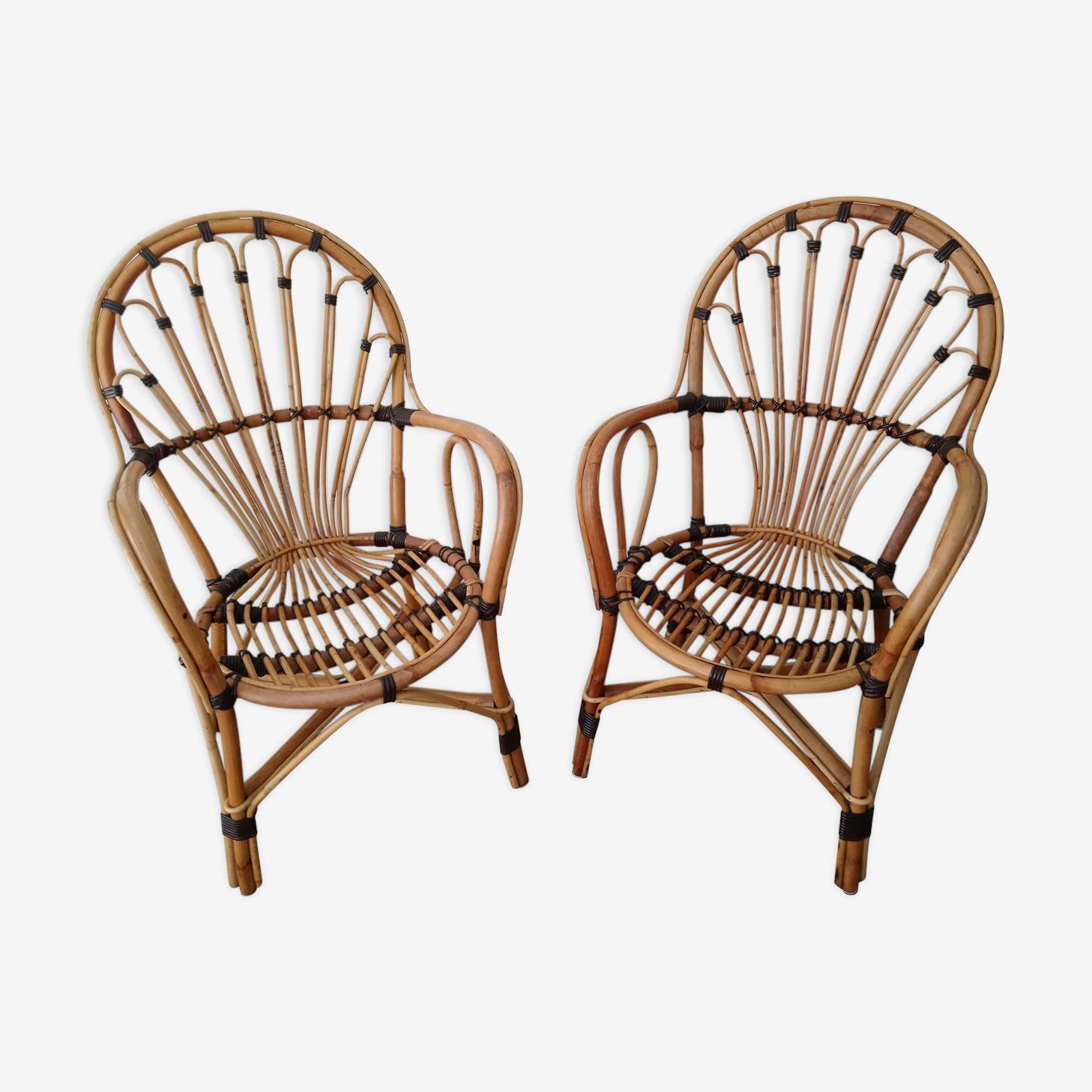 Paire de fauteuils en rotin et osier bicolore des années 70