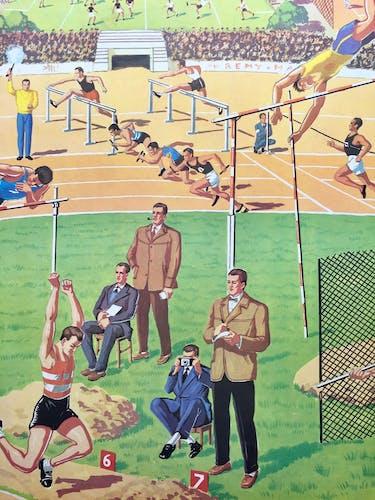 """Affiche """"le marché/l'athlétisme"""""""