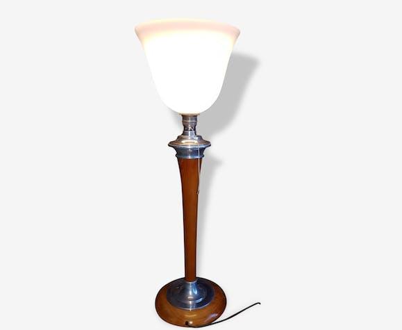 Superbe Grande Lampe Mazda Art Deco 1930 Alu Poli Chrome Et Bois