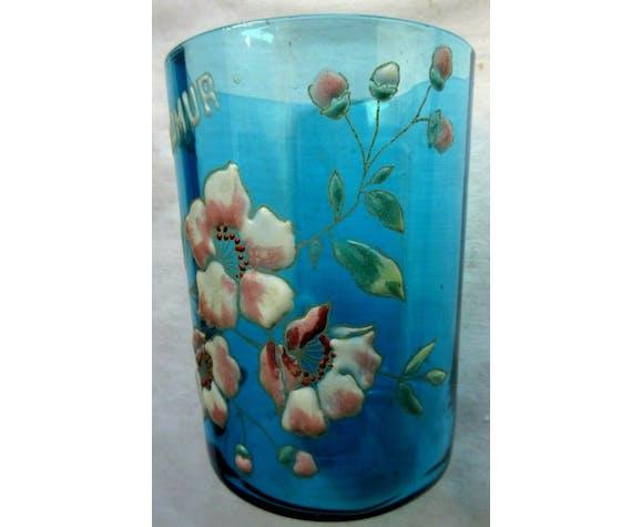 Verre bleu art nouveau émaillé Legras fleurs de pommier SAUMUR, H = 9 cm