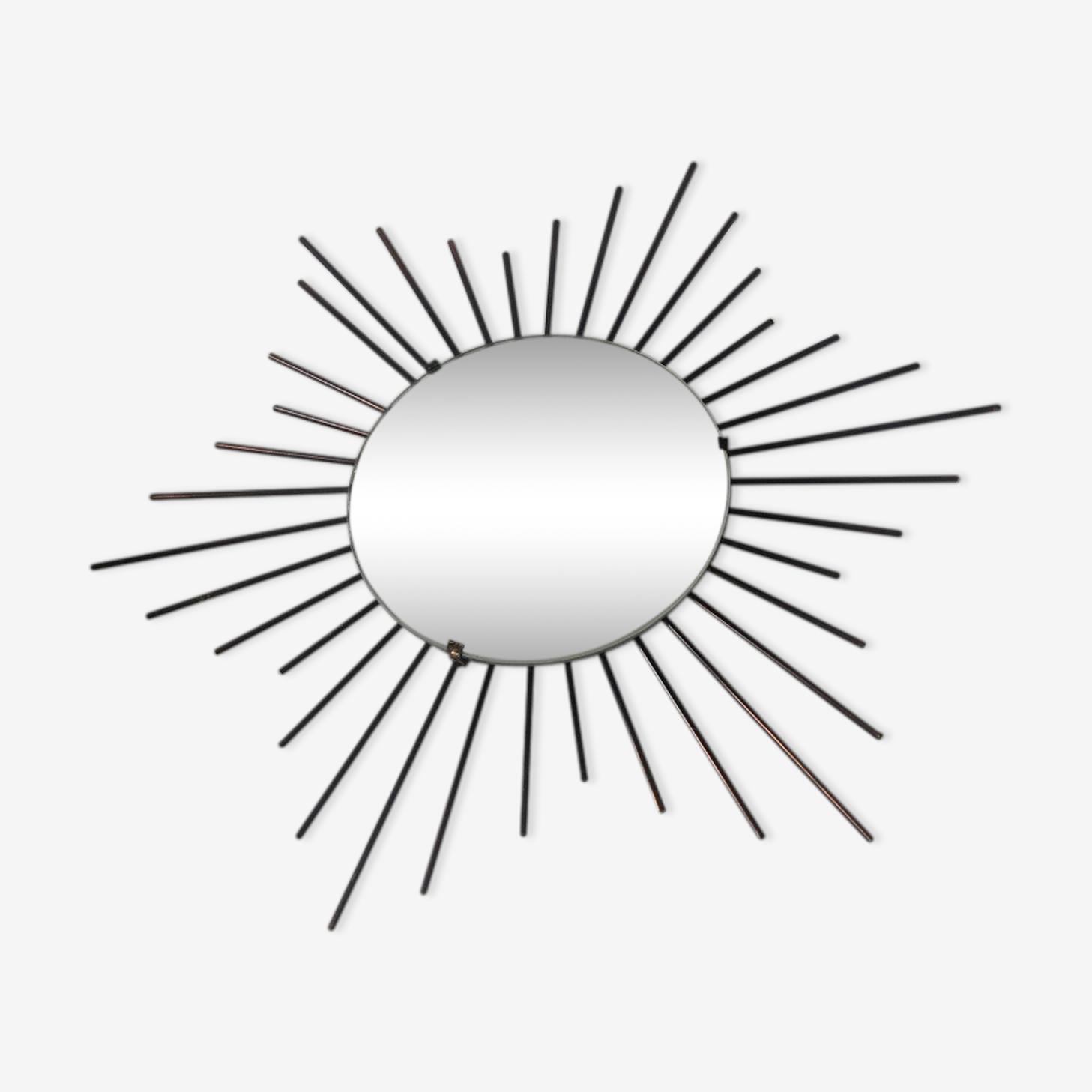 Miroir soleil en métal noir 60 cm x 60 cm