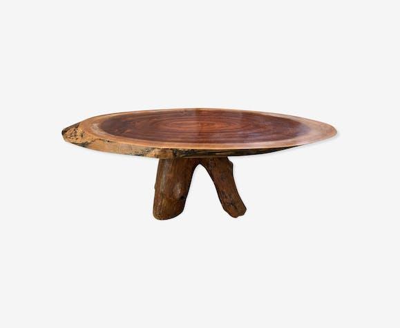 Table basse brutaliste bois massif
