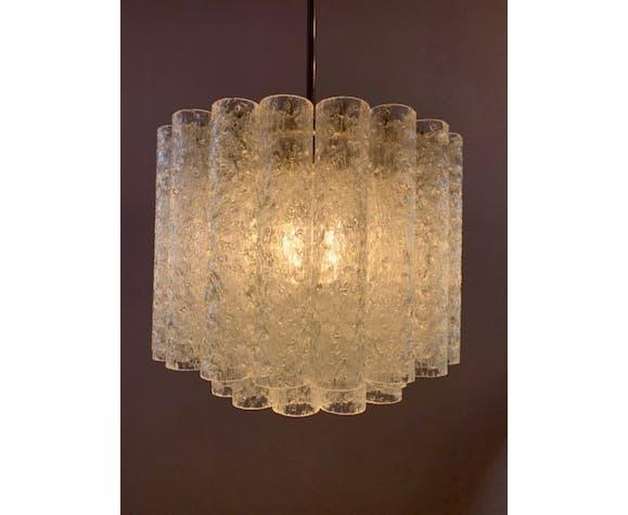 1960s Doria two tier tubular crystal glass chandelier