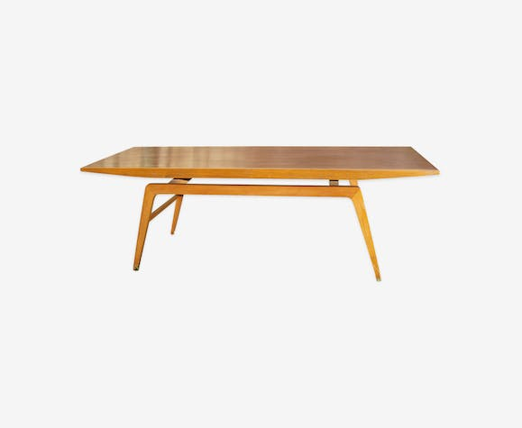 Rectangular coffee table, vintage Scandinavian style, teak and mahogany