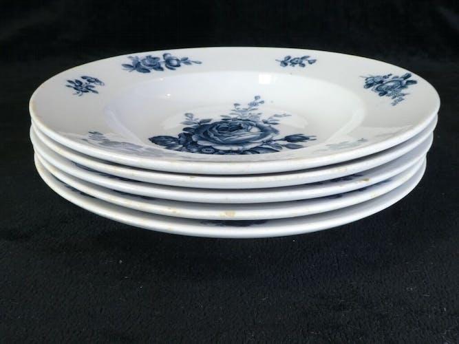 Set de 5 assiettes creuses Villeroy et Boch decor floral bleu
