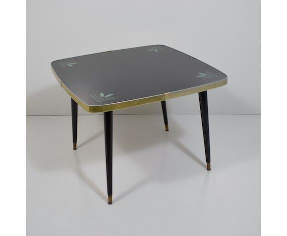 Table basse carrée Albert Busch plateau en verre noir vintage