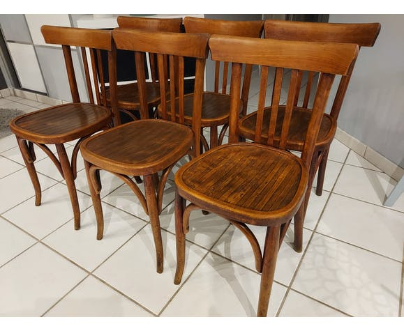 Suite de 6 chaises de bistrot Baumann années 1940