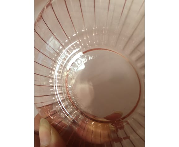 Set 6 cups and saucers Rosaline Arcoroc pink glass