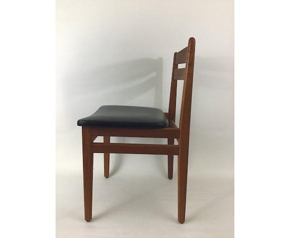 Suite de 4 chaises danoises en teck et skaï