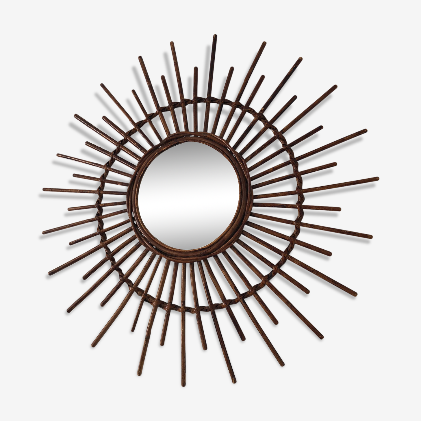 Miroir soleil rotin 65x65cm vintage 1960