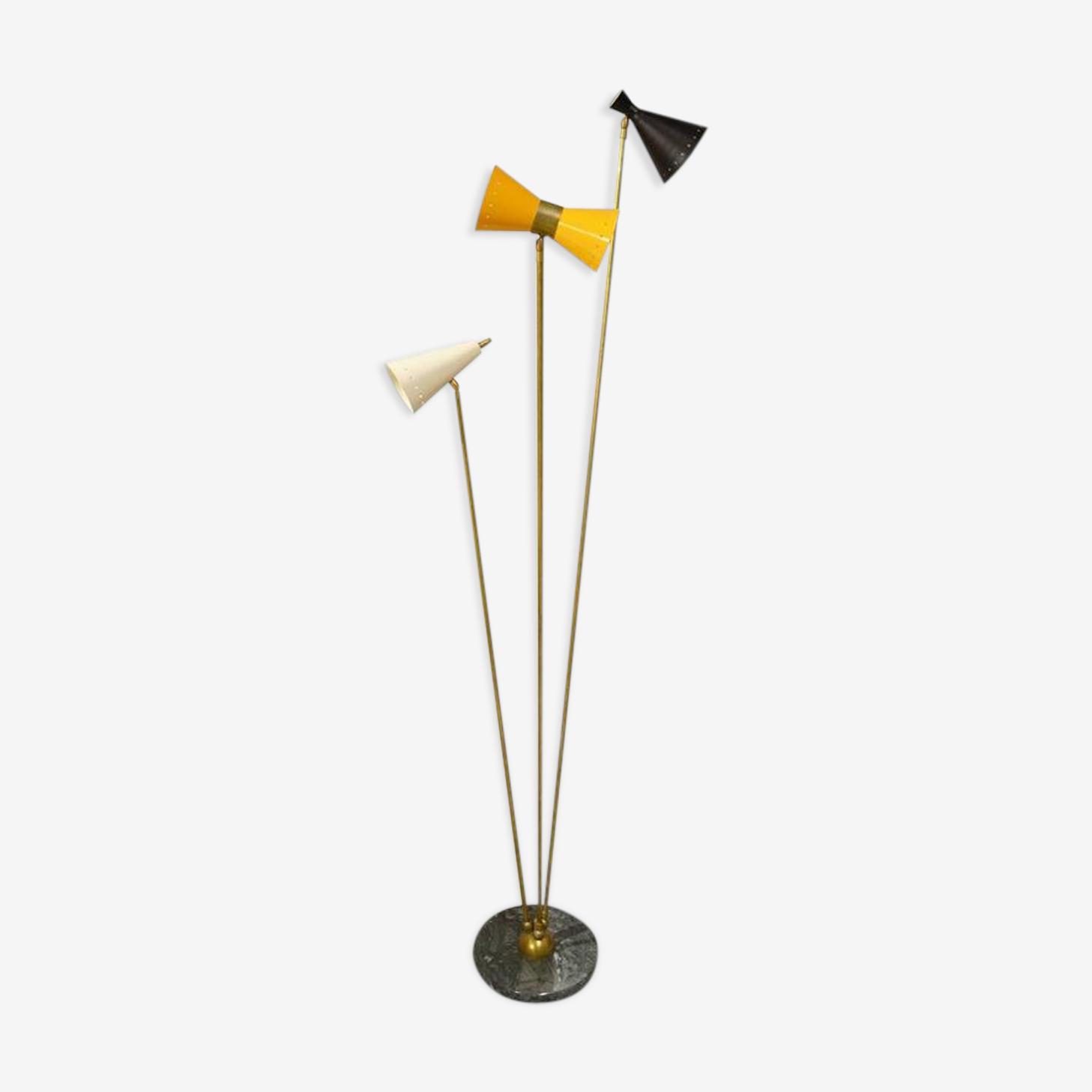 Lampadaire en laiton dans le style des créations italiennes des années 50
