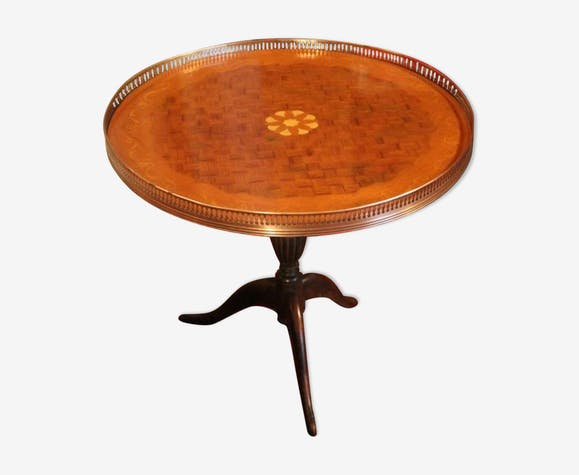 Table Basse Guéridon à Décor Marqueté Sur Piétement Acajou
