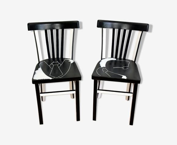 Relooked bistro chairs years 50